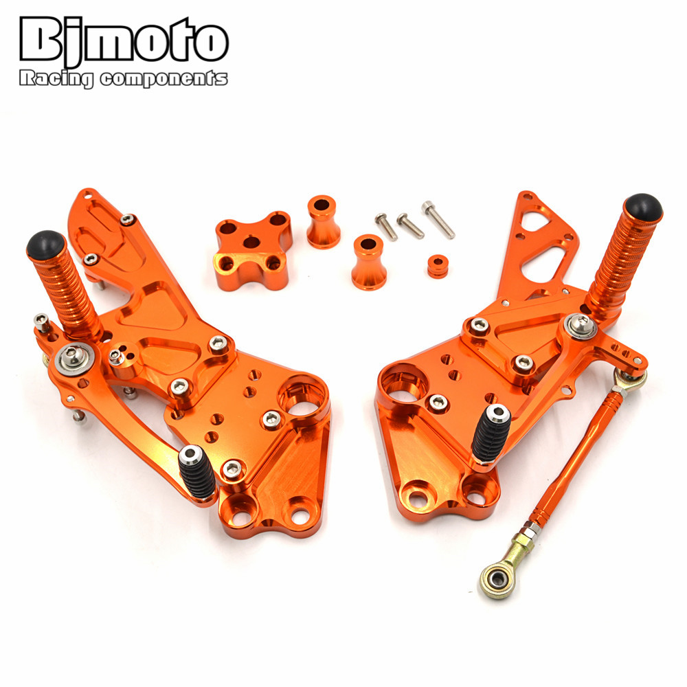Bjmoto motorcycle New CNC Billet Racing Adjustable Rearset Foot Pegs Rear Sets For KTM Duke 390