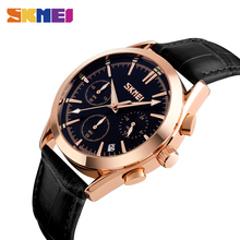 SKMEI 9127 NEW Men Quartz Watch Fashion and Casual Wristwatches Leather Strap Stopwatch Waterproof Relogio Masculino все цены