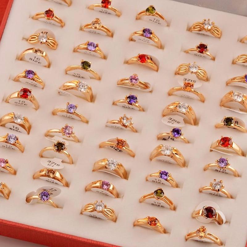 50 pcs lotes misturados aneis por atacado cz cristal cor dourada feminino aneis elegante festa de