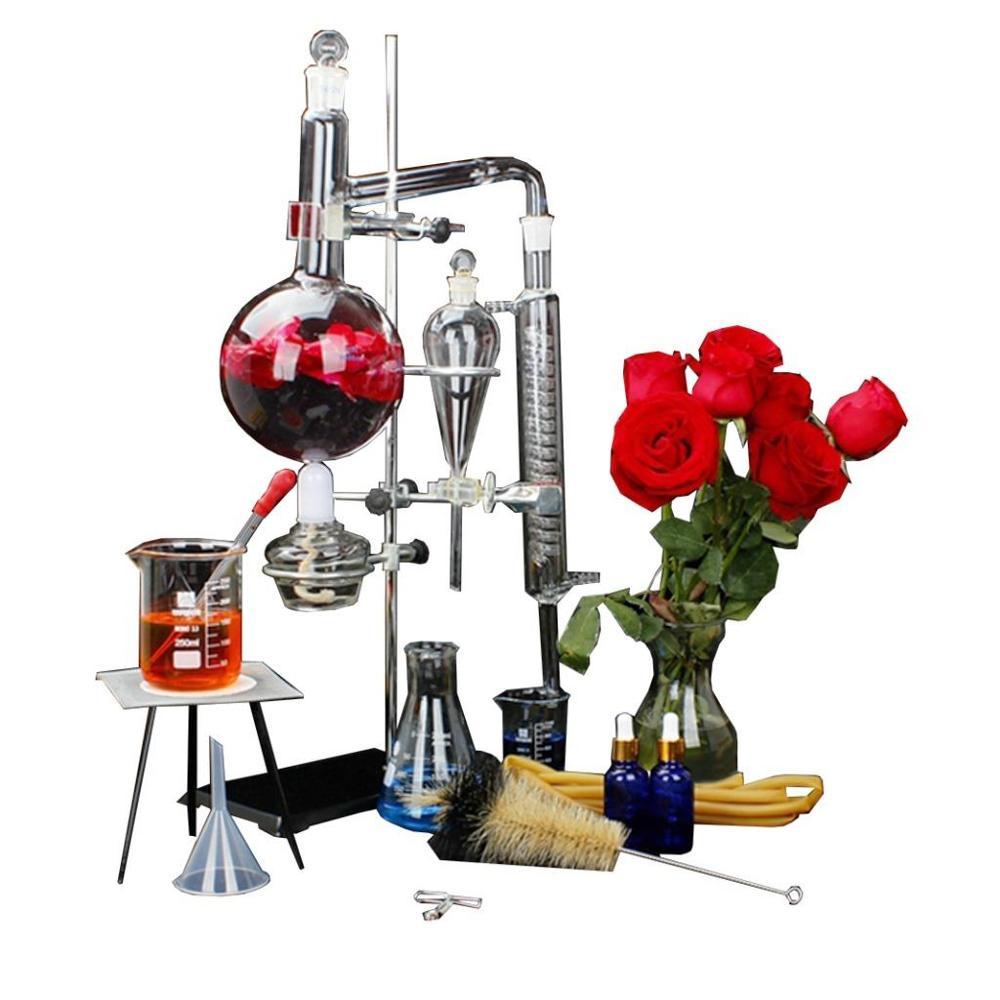 New Lab 1000ml Essential Oil Distillation Apparatus Pure Water Glassware Kits
