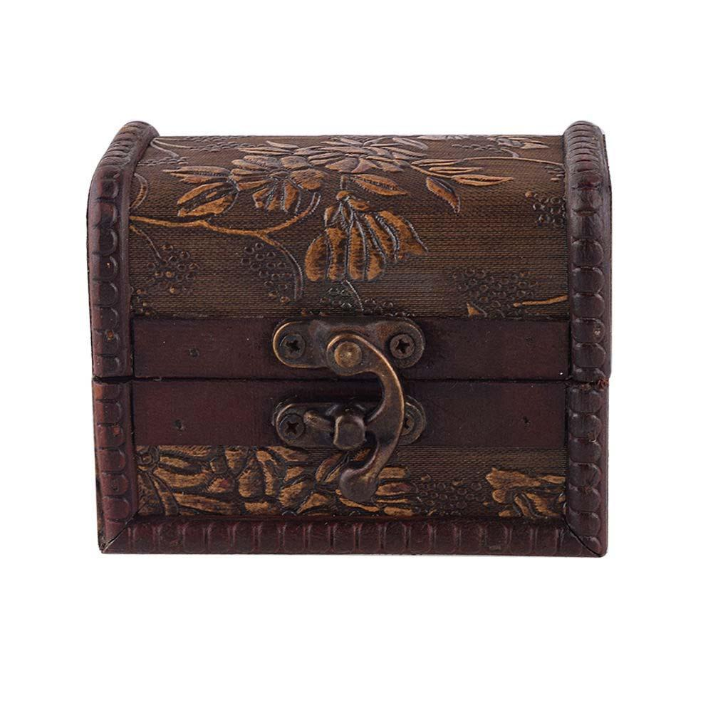 estilo vintage joyera de metal de bloqueo manual de la caja de caja de madera
