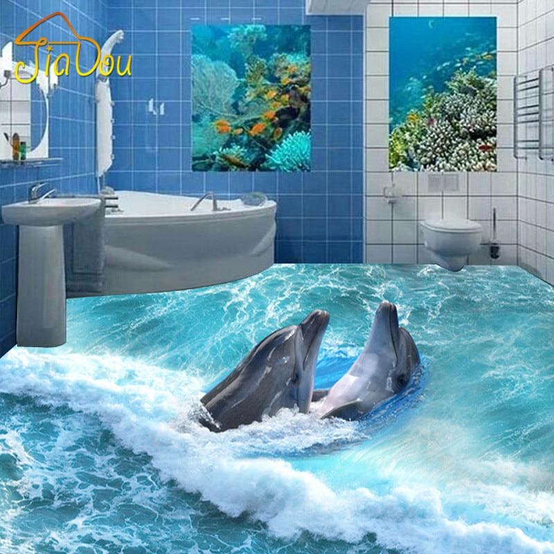 Custom Photo Floor Wallpaper 3D Stereoscopic Dolphin Ocean Bathroom Floor Mural PVC Wallpaper Self-adhesive Floor Wallpaper