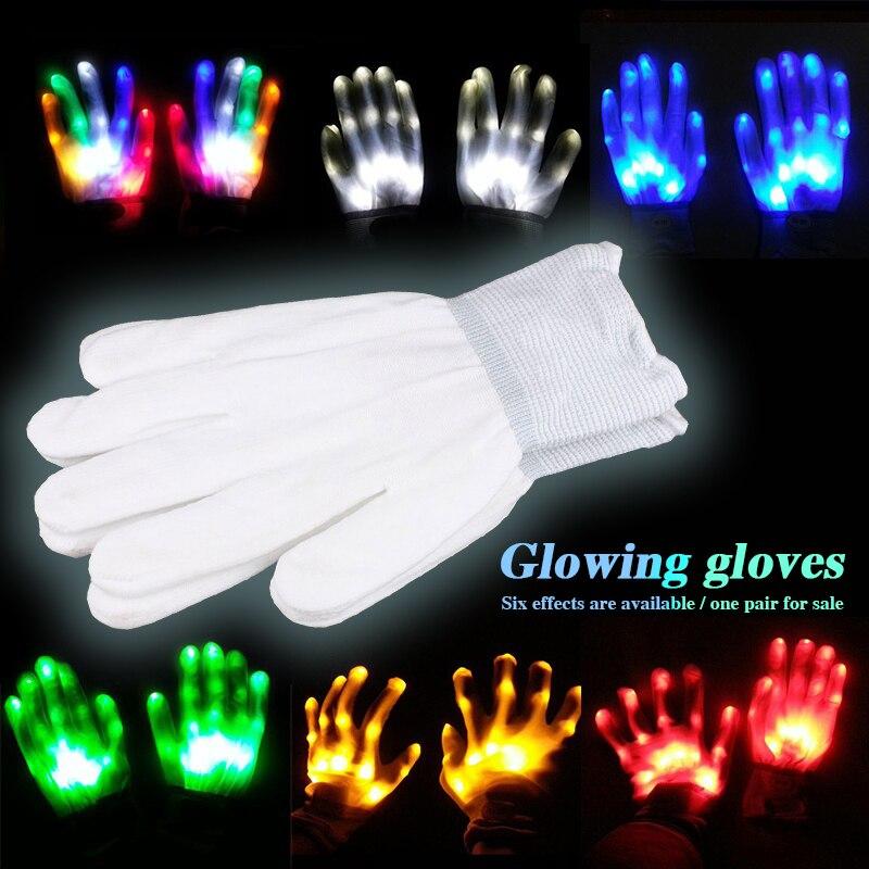 Flashing Finger 1 Pair Glow LED Light Gloves Party Light Gloves Super Bright Festival LED Gloves Holiday