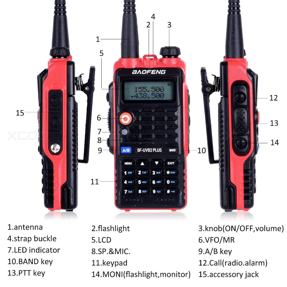 Neueste LED Licht 4800 mah Batterie Bf-Uvb2 Baofeng Uvb2 Plus Für WalkieTalkie Cb Radio Mobile Comunicador High Power Baofeng 8 watt b2