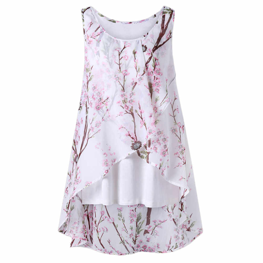 Vrouwen Zomer Strand Bloemen Vest Top Mouwloze Blouse Toevallige Tank Losse T-shirt Body Femme Blusas Femininas De Verao 2019