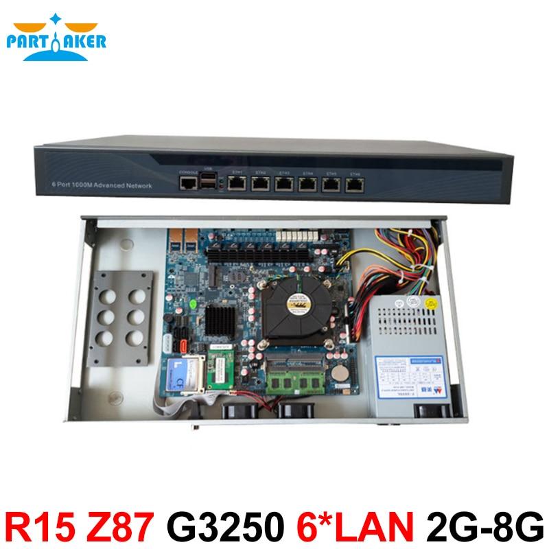 Z87 RouterOS industrial 1U Firewall with 6 ports Gigabit lan Intel Pentium G3250 3.2Ghz 2G RAM 8G SSD Mikrotik PFSense ROS etc cheap server rack 1u routers with 6 1000m 82583v gigabit with 2 sfp intel i5 3470 3 2ghz 4g ram 8g ssd support ros routeros etc