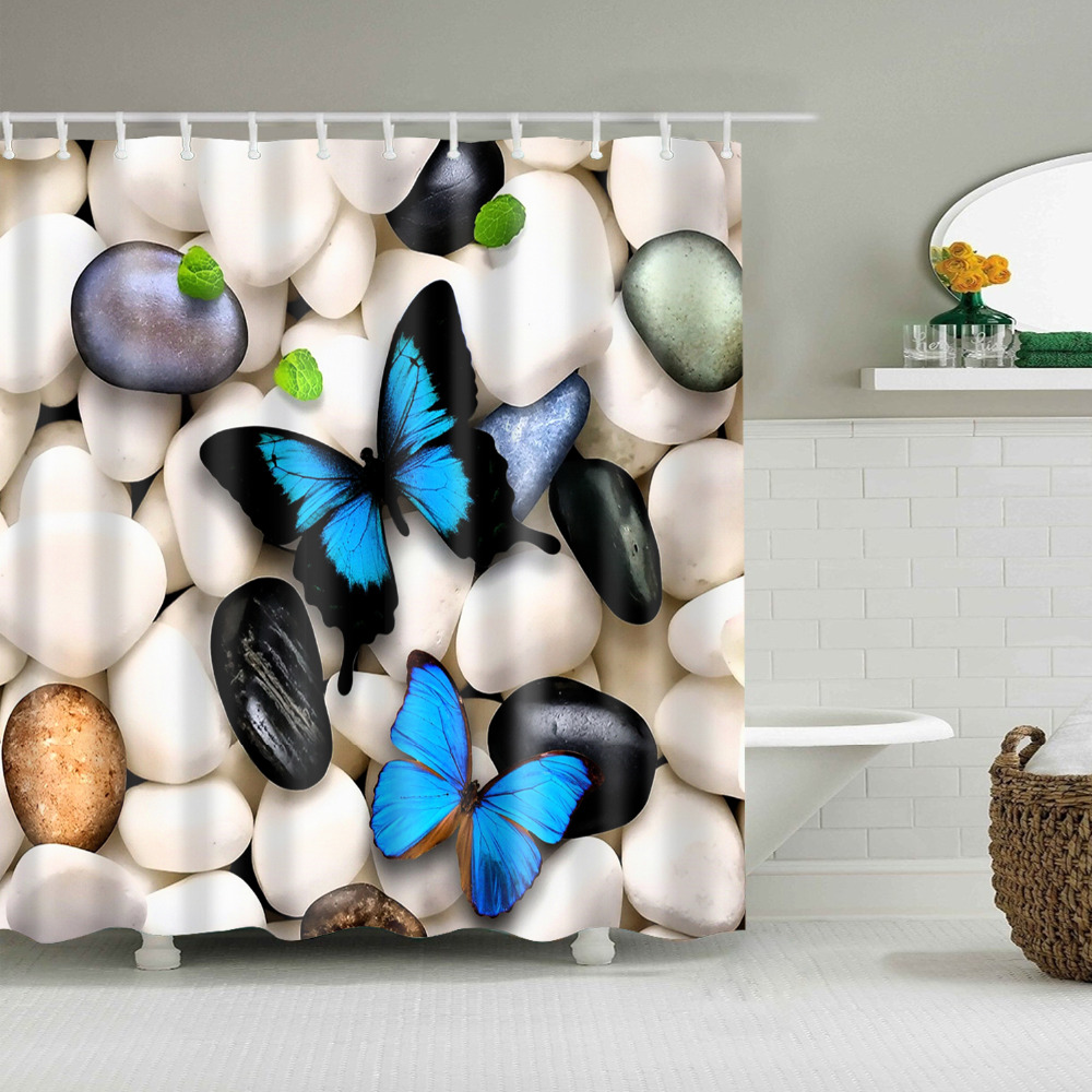 Modern Design Butterfly Bathroom Thick Polyester Cloth Shower Curtain Waterproof And Mildew With