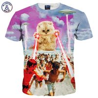 2017 Famous New Fashion 3d T-shirt Men/Women Summer Tops Tees Print Lovely Super Ability Meow Star Cat Quick Dry Tshirts
