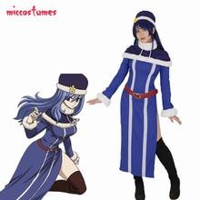 Fairy Tail Juvia Lockser Cosplay Kostüm Frau Halloween Blau Outfit Kleid