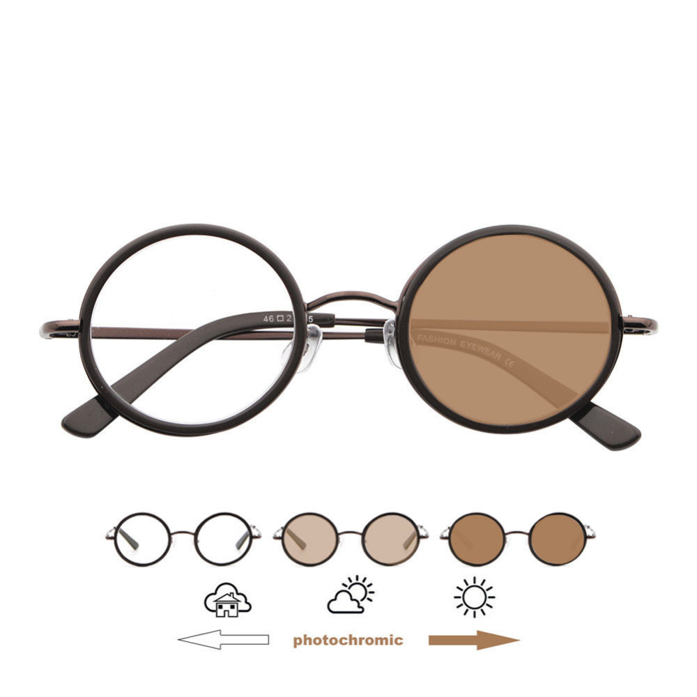 Dobradiças de mola Marrom Photochromic Transição 37mm Óculos de Leitura Óculos de Leitura Do Vintage Oval + 75 + 1 + 125 + 150 + 175 + 2 + 225