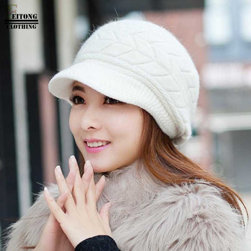 FEITONG White Knitting Rabbit Fur Velvet Hat winter hat with visor Ladies  Knit Hat Winter Ladies Warm Hat Caps casquette homme-in Visors from Apparel  ... 375cc57f61a