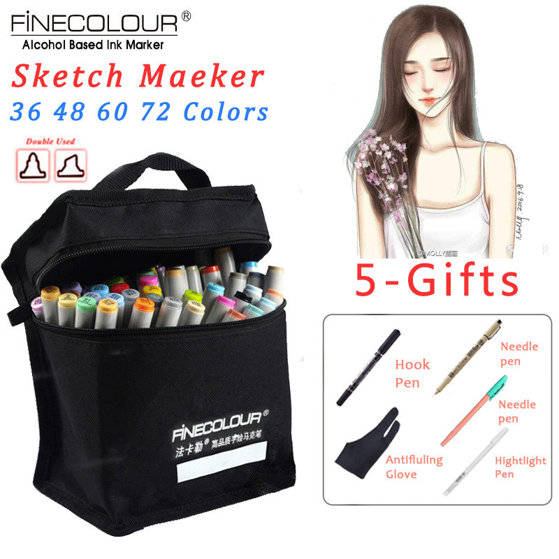 FINECOLOUR 36/48/60/72 Colors Alcohol Based Art Marker Pen Set Sketch Markers For Drawing Manga Architectural Painting Supplies finecolour ef101 alcohol based art sketch twin marker brush non toxic markers for school supplies 24 36 48 72 color set in bag