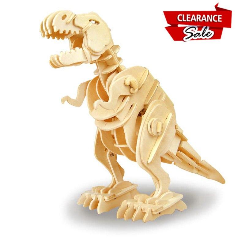 La russie Acheteur Super Deal Robotime Figurine Décoration à la maison DIY En Bois Dinosaure Miniature de Marche T-Rex Cadeau pour Enfants D210