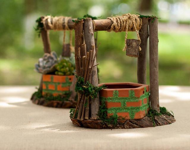 Artesanato Girassol Pedreira ~ Manual de poços de madeira vaso verde vaso de flores carnudas planta adorno artesanato artigos