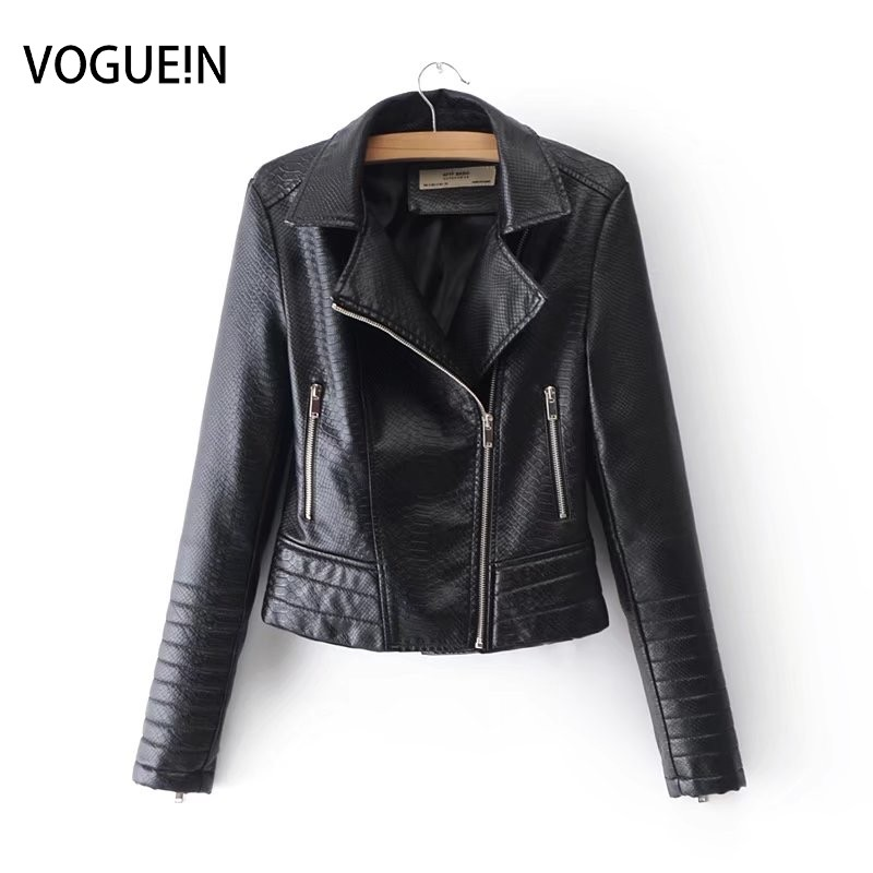 VOGUEIN New Womens Faux   Leather   Black with Pattern Jackets Bomber Motorcycle Coat Outerwear Wholesale