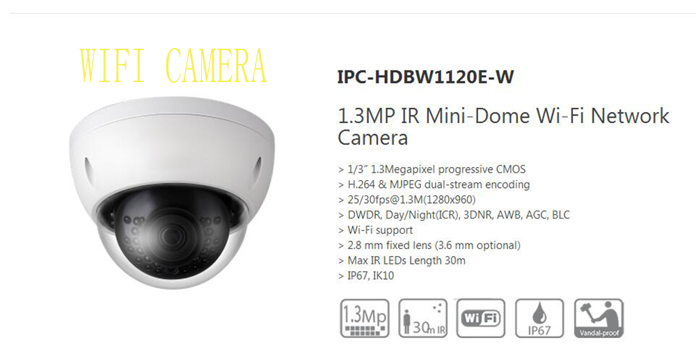 Free Shipping DAHUA Security IP Camera 1.3MP WIFI Network Vandalproof IR Mini Dome Camera IP67 without Logo IPC-HDBW1120E-W free shipping dahua cctv camera 4k 8mp wdr ir mini bullet network camera ip67 with poe without logo ipc hfw4831e se