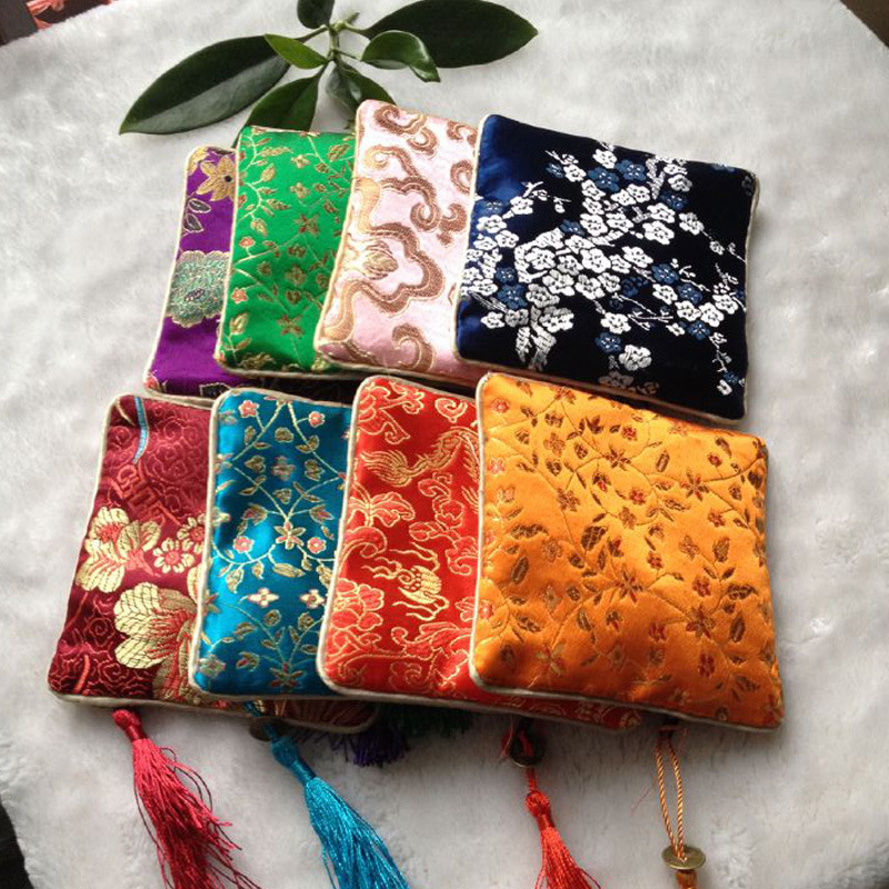 11.5*11.5cm Small Pouch Handmade Embroideries Earphone Bag Classic Chinese Embroidery Jewelry Bag Storage Organizer ZA1777