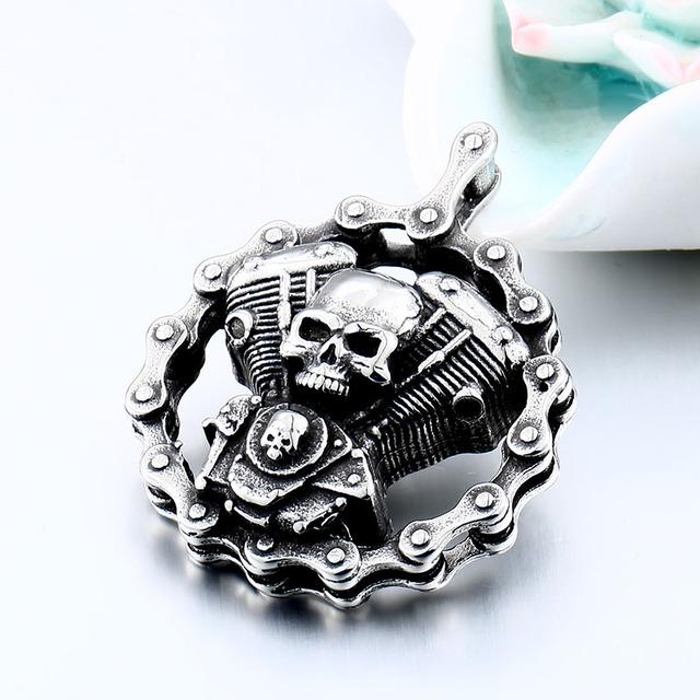 Ghost rider biker pendant necklace