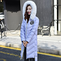 2016  High Quality Large Real Fox Fur Collar Women Down Jacket Winter White Duck Down Coat Long Women Thick Parkas