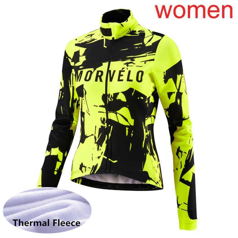 Ropa ciclismo 2019 Winter Thermal Fleece cycling Long sleeve Jersey racing bike shirt Team Morvelo women mtb bicycle clothing L8