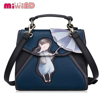 SJ Brand Women Shoulder Bag Female Messenger Bag Handbags Totes Braccialini Brand Style Handicraft Art Cartoon Umbrella Girl