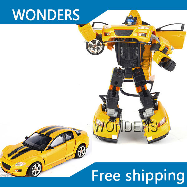 Acousto-optical Transformation Robot Toys for children yellow Car Classic Toy Baby Brinquedos original alloy transformation4 robot toys action figure transformation car robot classic toys for boys juguetes for gifts toys