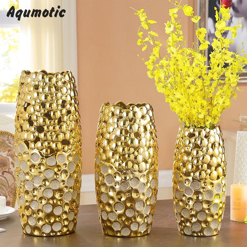 Deko wohnzimmer vasen gold  Aliexpress.com : Aqumotic Hochwertige Keramik Gold Vasen ...