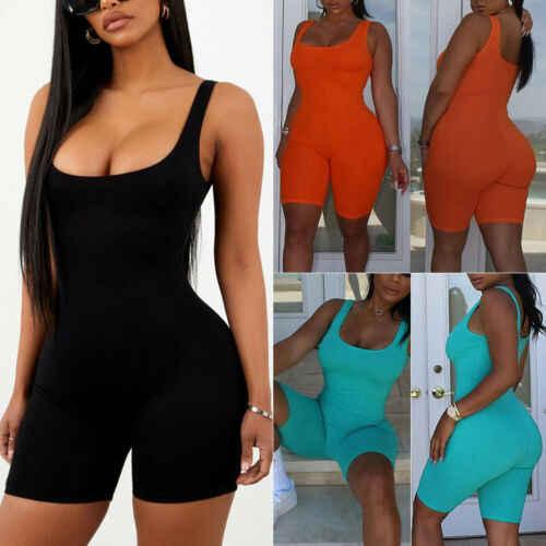 Nueva moda mujer sin mangas cuello en V sólido Bodycon Slim Fit Playsuits Romper señora verano Sexy Club fiesta de cintura alta s-L