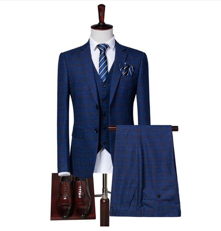Maigre Costume veste Mariage Suit Hommes Smoking Rayé As Sur Picture Fit Plaid Pantalon Gilet Same 2019 De Bleu D'affaires Mode Mesure TWrvYT7O