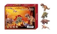 Educational Toy 1pc Cartoon 5 Small Dinosaur World 3D Paper DIY Jigsaw Puzzle Model Kits Children