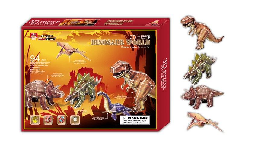 Развивающие игрушки 1 шт. мультфильм 5 маленький мир динозавров 3D бумаги DIY пазл Модель комплекты дети мальчик игрушка в подарок