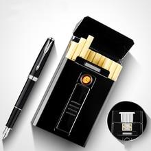 Metal Cigarette Case Box with Electronic Lighter USB Portable Plasma Tungsten Lighter Waterproof Holder 20pcs Slim Cigarettes