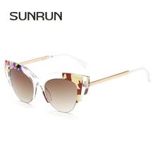 SUNRUN Diseñador de la Marca Mujeres Del Ojo de Gato gafas de Sol de Moda Vintage de Metal Piernas Gafas de Sol Marco Colorido gafas De Sol Oculos FF0178