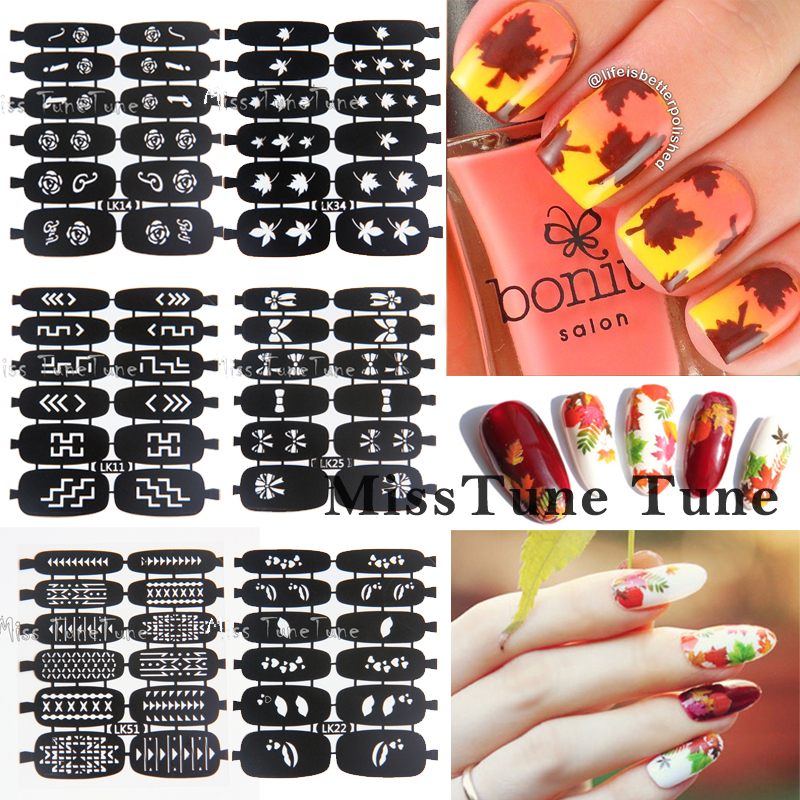 NEW Nail Art Hollow Transfer Stencils Stickers Vinyls Stamp Image Easy Stamping 12tips Leaves Rose Bowknots Tribal Styles