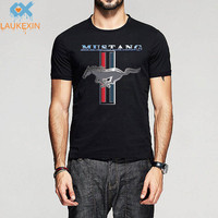 Fashion Mustang Logo T Shirt Mens Womens Gt Pony Heavy Cotton O Neck Tshirt Tops Black