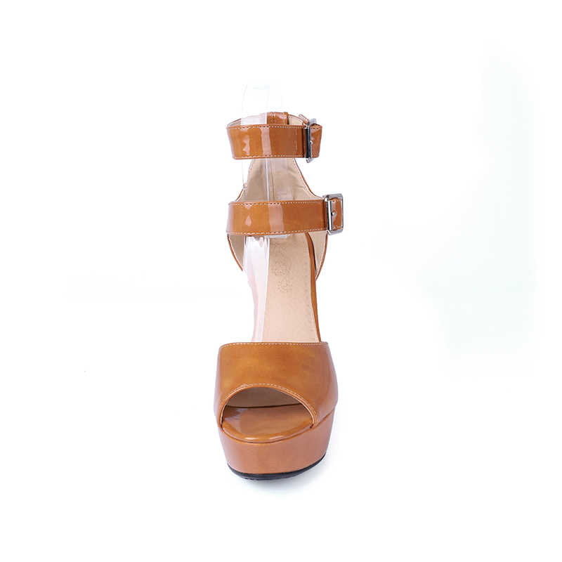 WETKISS 2018 Yaz Kadın Sandalet Ayak Bileği Kayışı platform ayakkabılar Peep Toe Yüksek Topuklu Kapak Topuk Bayanlar Parti Ayakkabı Büyük Boy 50