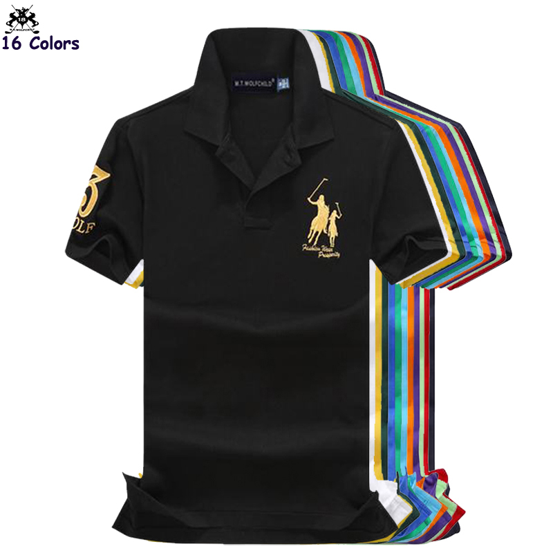 Top quality 2018 Fashion Summer mens short sleeve   polos   shirts cotton solid color horse mens lapel   polos   casual slim mens tops