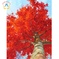 5D Diamond Painting Cross Stitch Complete Drill On Canvas Home Decor Scenery Red Tree Wall Art