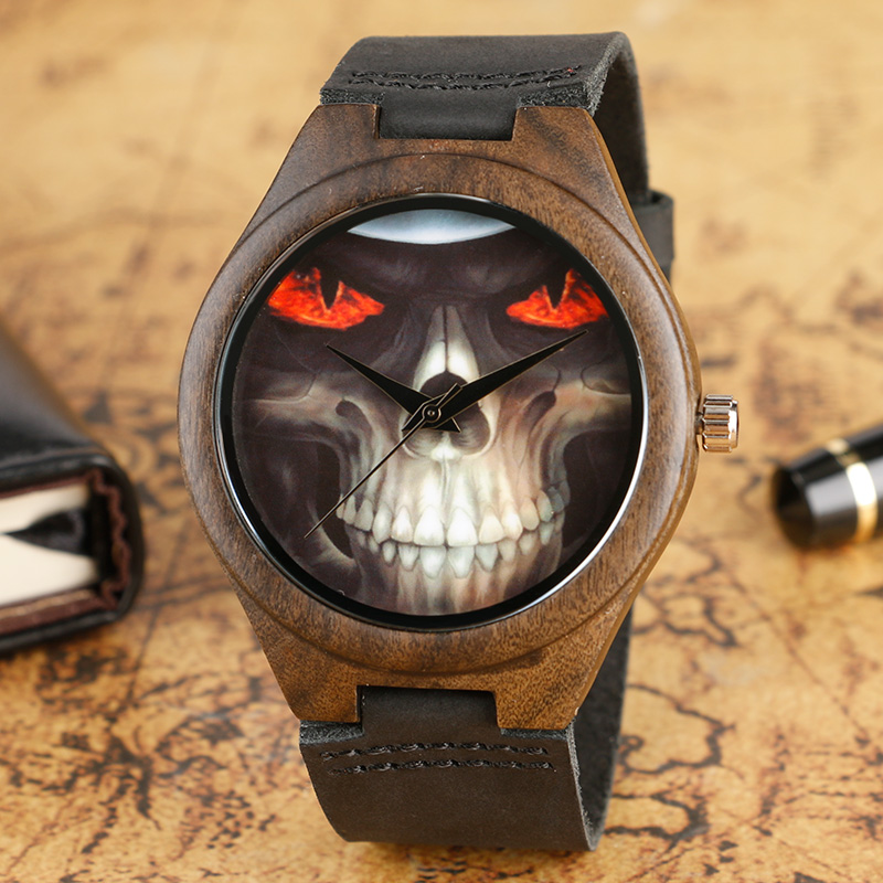 Wooden Watches Male Clock Creative Awesome Skull Face Genuine Leather Strap Bamboo Nature Wood Wrist Quartz Watch Casual Relogio sihaixin wooden watch male timepiece simple black design men top brand wrist watches nature hand made bamboo quartz clock man de