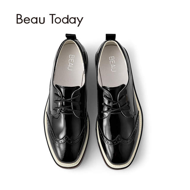 2d2823b49368 BeauToday Wingtip Oxfords Shoes Women Lace-Up Genuine Patent Cow Leather  Shoes for Ladies Square