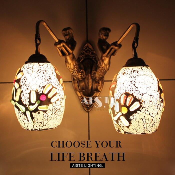 Mediterranean Tiffany Mermaid Wall Lamp AC 110/220V E27 glass Wall Lamps for Home Corridor Bedroom цена 2017