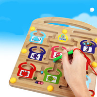 NEW Magnetic Pen Labyrinth Board Chess Intelligence Games Children Learning Education Toys Children Wood Magnetic Maze Game