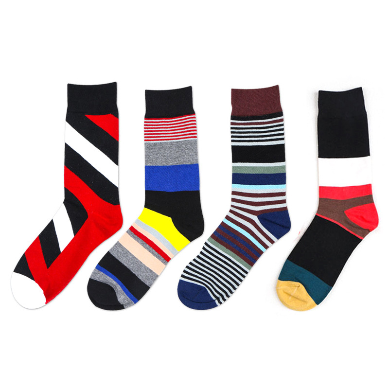 1 Pair Male Cotton Socks Colorful skate hip hop Striped Jacquard Art Socks Hit Color Dot Long Happy Socks Mens Dress Sock
