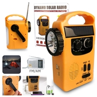 Portable Outdoor Emergency Hand Crank Solar Dynamo AM/FM Radios Power Bank with LED Lamp Built in 500mAh Lithium Battery