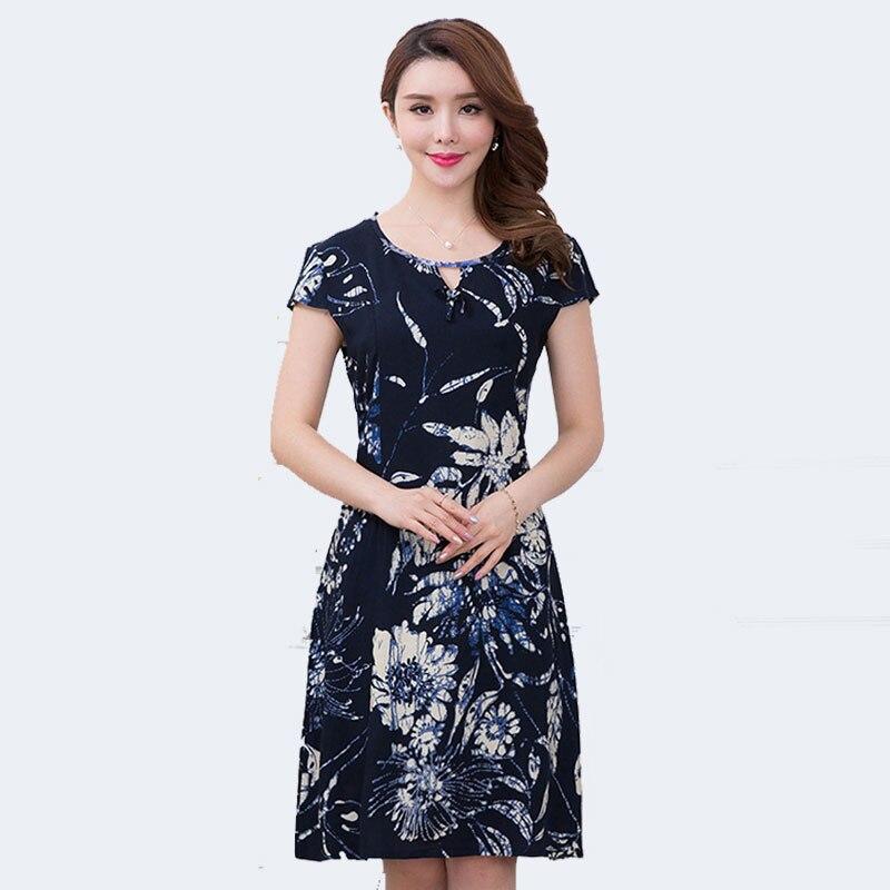 XL-5XL 2018 Women clothing medium-long one-piece dress short-sleeve o-neck loose plus size female summer style dresses QH0122