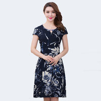 XL-5XL 2017 Women clothing medium-long one-piece dress short-sleeve o-neck loose plus size female summer style dresses QH0122