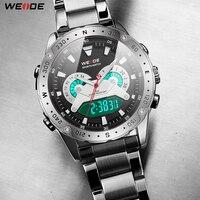 WEIDE Analog Digital Display Date Military Men Quartz Movement Stainless Steel Wristwatches Relogio Masculino Clock New Fashion