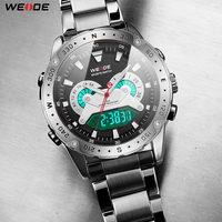 WEIDE Analog Digital Display Date Military Men Quartz Movement Stainless Steel Wristwatches Relogio Masculino Clock New Fashion