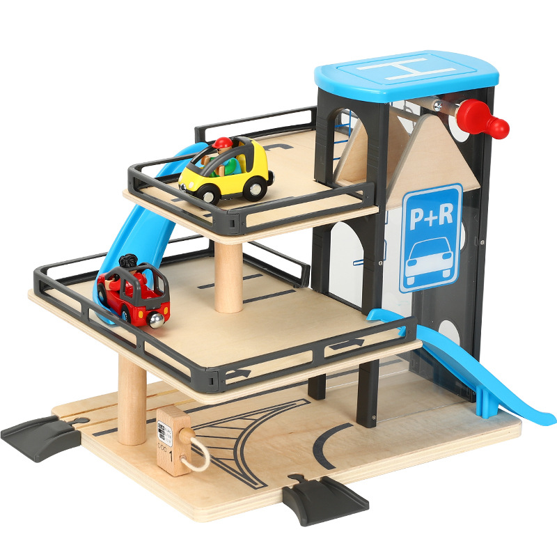 Simulated  Lift Parking Toys Compatible With Wooden Small Train Track Educational Handmade Assemble Toys For Children