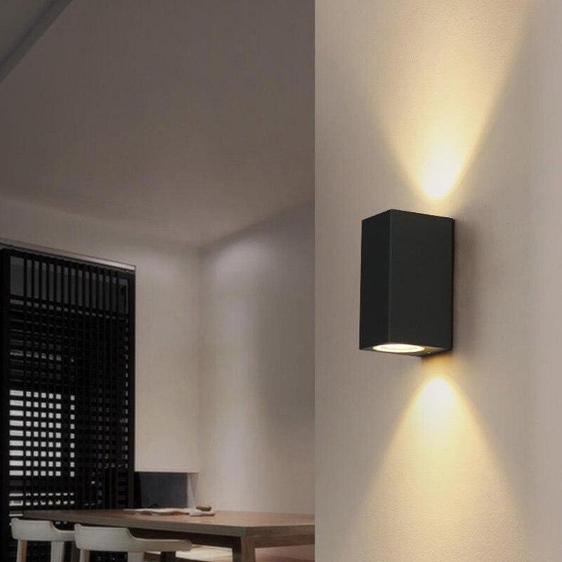 6 stk. Udendørs vandtætte LED-væglamper IP65 AC85-260V med 2 stk. * 3W LED-lamper aluminium gårdhave haven veranda korridor lys